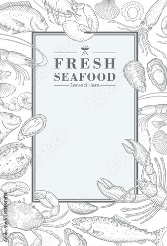 Photo  Hand drawn seafood menu