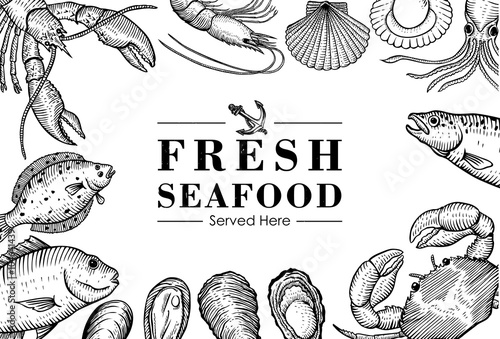 Fotografie, Tablou  Hand drawn seafood menu