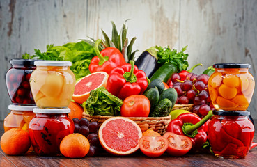 Fototapeta samoprzylepna Composition with variety of organic vegetables and fruits
