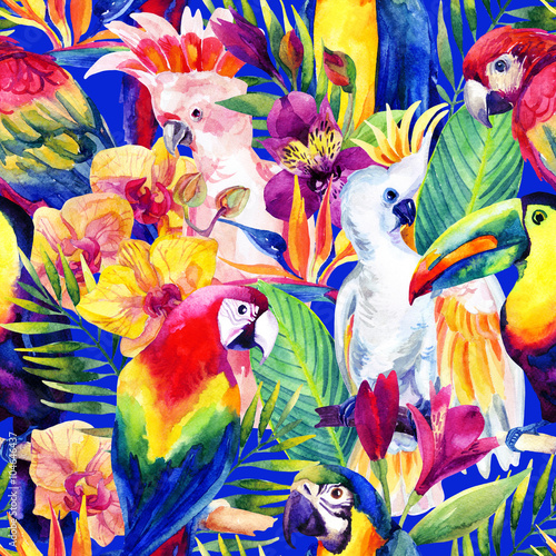 Photo watercolor parrots with tropical flowers seamless pattern
