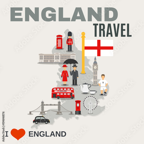 Tuinposter Doodle England Culture For Travelers Poster