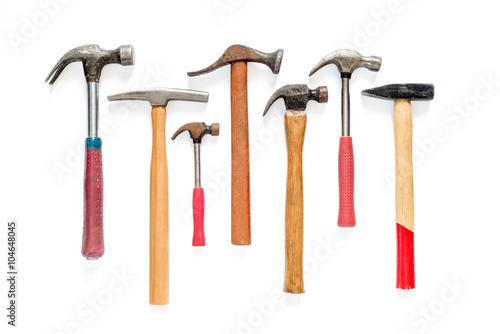 Fotografia, Obraz Hardware tools set of a seven hammers on isolated background