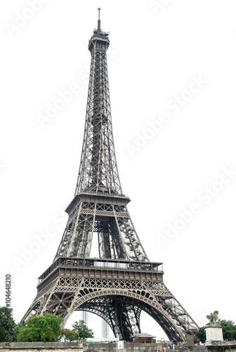 Deurstickers Eiffeltoren Eiffel Tower over white background. Paris, France