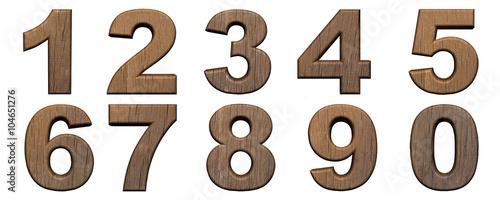 Set of wooden 3d numbers © mentona