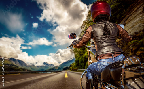 Photo  Biker girl First-person view