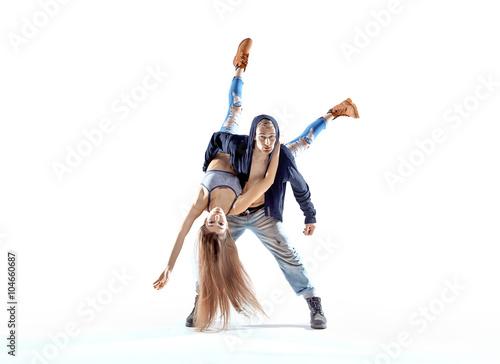 Fényképezés  Strong hip-hop guy carrying his dance partner