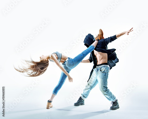 Two athletic dancers making a performance Canvas Print