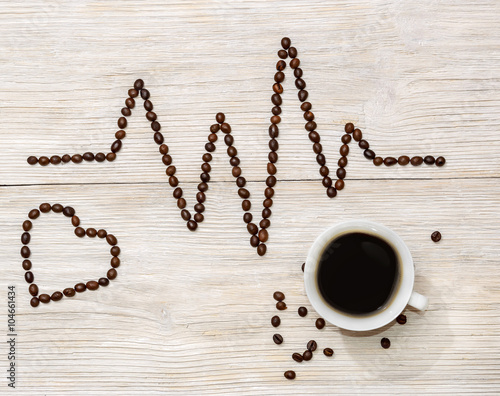 cardiogram and heart laid out coffee beans with a cup of coffee