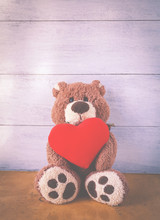 Teddy Bear Holding Red Heart Vintage Tone Style