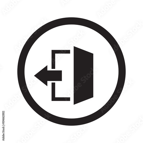 Flat black Exit web icon in circle on white background Wall mural