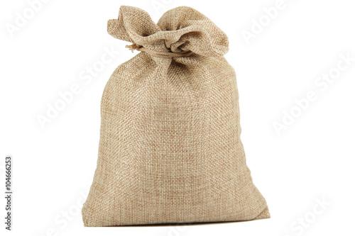 Tela Textile - burlap sack isolated on white background with empty space