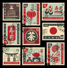 Obraz na Szkleset of postage stamps on the theme of Japanese cuisine. Hieroglyph Japan Post, Sushi, Tea