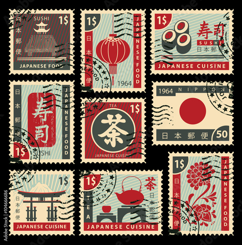 set of postage stamps on the theme of Japanese cuisine. Hieroglyph Japan Post, Sushi, Tea - 104666686