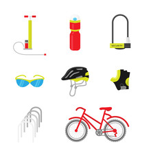 Bicycle Equipment Icon Vector Set. Bike And Glove, Sunglasses  And Uniform Cyclist Illustration. Red Black Bike Equipment Icon For Sport