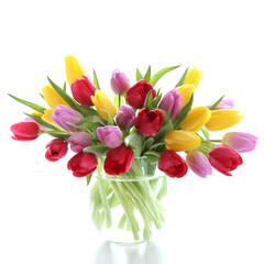 Fototapeta Prezenty ślubne Tulips in a glas vase