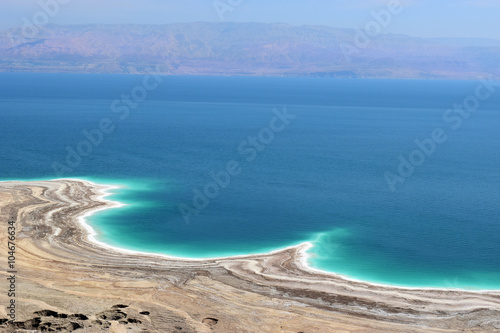 Canvas Prints Blue landscape of the Dead Sea, failures of the soil, illustrating an environmental catastrophe on the Dead Sea, Israel