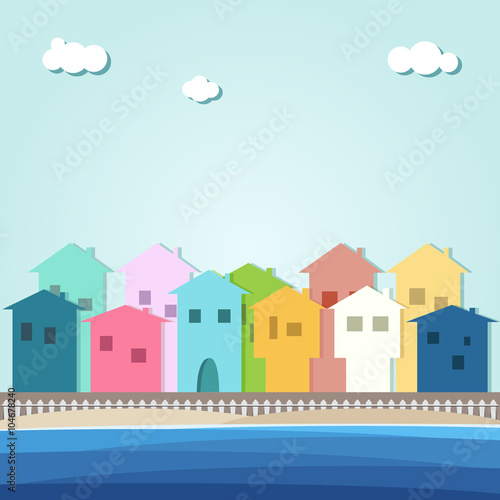 Foto op Canvas Lichtblauw Colorful Beach Houses For Sale / Rent. Real Estate