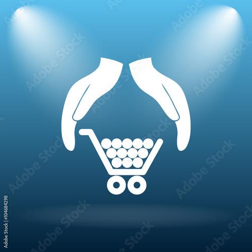 Fotografía  Consumer protection, protecting hands icon
