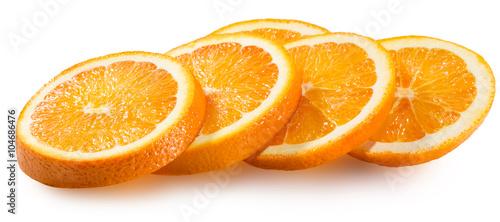 Fotografia orange slices isolated on the white background