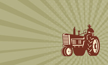 Business Card Farmer Driving Vintage Tractor Retro