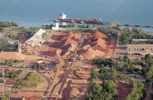 Ore  ship loading bauxite at  Weipa,Cape York,  Queensland,  Australia Canvas Print