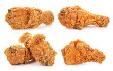Golden Brown Fried Chicken Drumsticks On White Background.