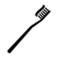 Toothbrush / Tooth Brush With Toothpaste Flat Icon For Apps And Websites