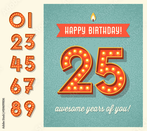 Happy Birthday Card Or Banner Design With Set Of Lighted Retro