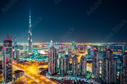 Recess Fitting Dubai Fantastic nighttime Dubai skyline with illuminated skyscrapers. Rooftop perspective of downtown Dubai, UAE.