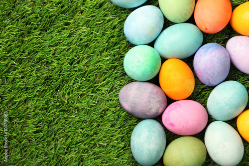 Photo  Colorful Easter eggs on grass background