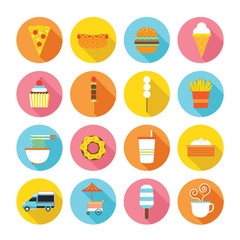 Fototapeta Do steakhouse Fast Food Flat Icons Set, Street Food and Drink Vector