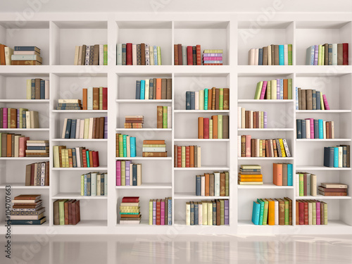 3d illustration of White bookshelves with various colorful books Canvas Print