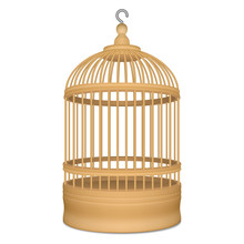 Wooden Cage With Metal Hook For Birds