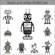Set of cute vintage robots. Icons.