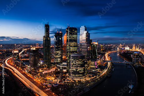 Poster Moscow Moscow city (Moscow International Business Center) at night, Russia