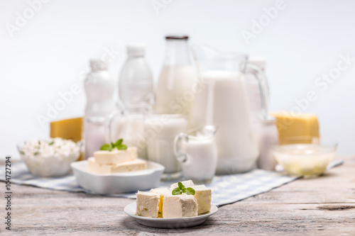 Poster Dairy products Still life with dairy products