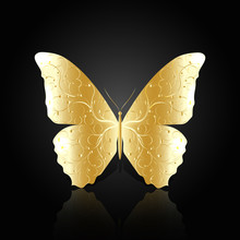 Gold Abstract Butterfly On Black Background