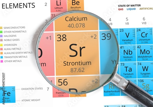 Strontium symbol sr element of the periodic table zoomed with strontium symbol sr element of the periodic table zoomed with magnifying glass urtaz Gallery