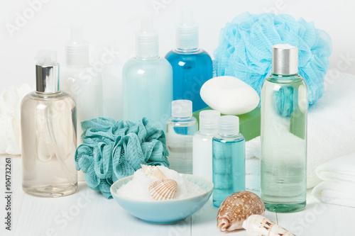 Fotografie, Obraz  Spa Kit. Shampoo, Soap Bar And Liquid. Shower Gel. Aromatherapy