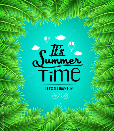 Summer Time Text with Palm Tree Leaves Boarders in Blue Background  © AmazeinDesign