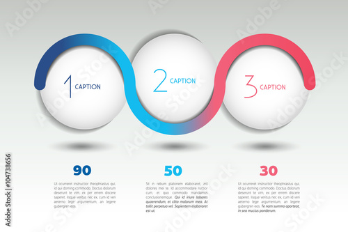 Fotografia  Infographic vector option banner with 3 steps