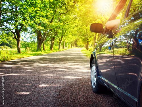 Staande foto Lente Car on asphalt road in summer