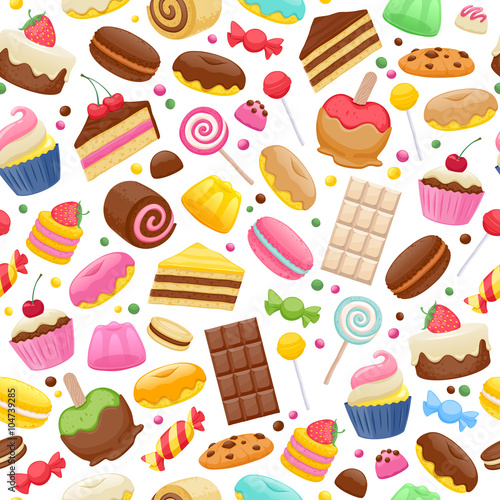 fototapeta na ścianę Assorted sweets colorful seamless background.