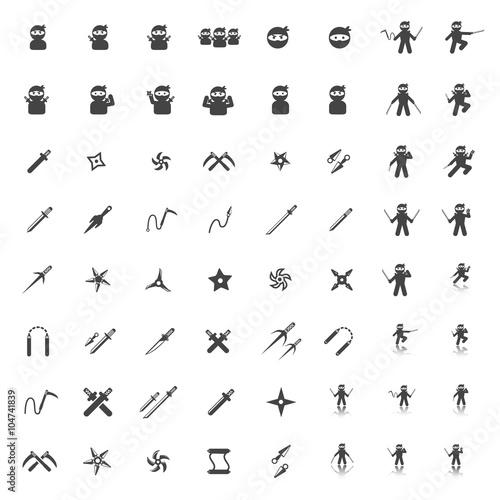 Cuadros en Lienzo ninja icon set
