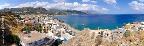 City on the water Panoramic cityscape of Paleochora, Crete, Greece