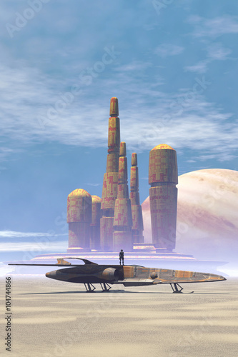 Photo  Space fighter and city in a desert planet