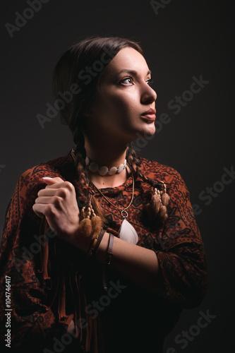 portrait of beautiful native american woman/ portrait of beautiful native americ Wallpaper Mural