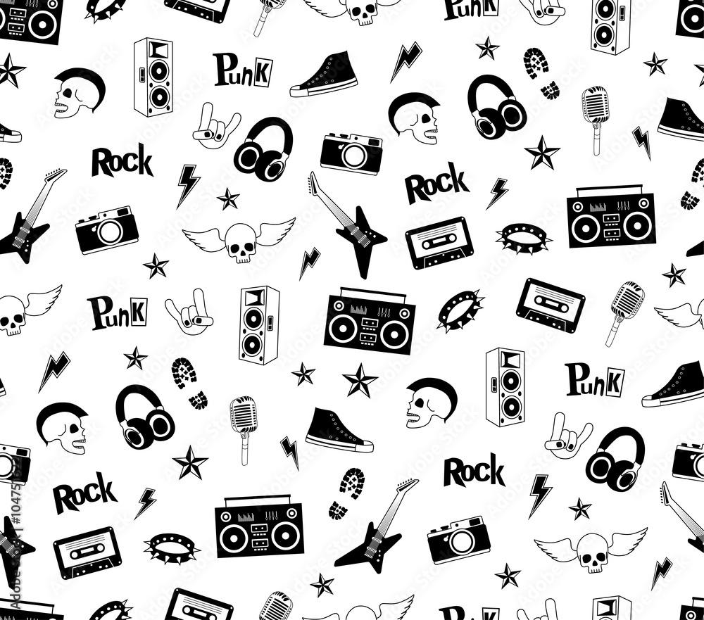 Fototapety, obrazy: Seamless pattern. Punk rock music isolated on white background. Doodle design elements, emblems, badges, logo and icons.