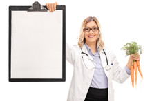 Female Doctor Holding A Clipboard And Carrots