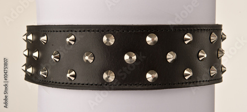 Valokuva Black leather collar with stainless steal spike studs